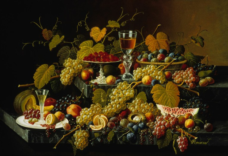 """Credit: Severin Roesen, """"Still Life with Grapes,"""" c. 1860-65, oil on board, Gift of Clara Lamade Robison, Palmer Museum of Art of The Pennsylvania State University"""